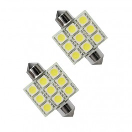 Bec auto Led 9 SMD C5W T11X36 9 MM 12V alb sofit Festoon
