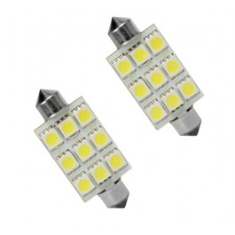 Bec auto Led 9 SMD C5W T11X44 9 MM 12V alb sofit Festoon