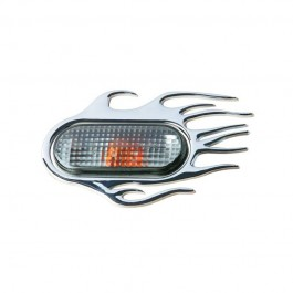 "Ornament 3D "" Flaming"" crom 118X75mm, pentru seria VAG (Vw Audi Seat Skoda)"
