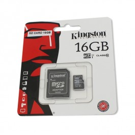 Card de memorie Kingston microSDHC 16GB Class 10 + Adaptor