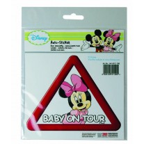 Abtibild pentru luneta Minnie Mouse Baby on Tour, stickere auto , 17x15x0,1 cm