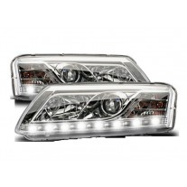 Set faruri tuning Audi A6 (C6) Sedan/Avant 05.2004-10.2008 fata stanga-dreapta daytime running light H1+H7, transparent silver